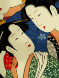 Female Figures on Silk, Japanese Silk Art, Japan Fotografisk tryk af Cindy Miller Hopkins