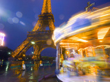 Eiffel Tower in Twilight Fog and Rain, Merry-Go-Round in Foreground, Paris, France Photographic Print by Jim Zuckerman