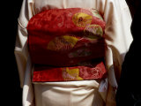 Close-up of Obi, Silk Sash Worn with Kimono, Kyoto, Japan Photographic Print by Nancy & Steve Ross