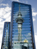 Reflection of Skytower in Office Building, Auckland, North Island, New Zealand Photographic Print by David Wall