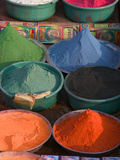 Selling Holy Color Powder at the Market, Puri, Orissa, India Photographic Print by Keren Su