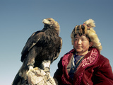 Youngest Eagle Hunter in the Festival, Talgat, Golden Eagle Festival, Mongolia Photographic Print by Amos Nachoum