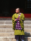 Buddhist Monk at Higashi-Hongan-Ji Temple of the Jodo-Shinsu Sect, Kyoto, Japan Photographic Print by Nancy &amp; Steve Ross