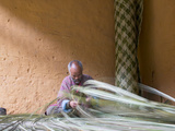 Man Weaving Bamboo Mat, Phobjikha Valley, Trongsa, Bhutan Photographic Print by Keren Su