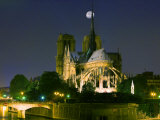 Full Moon over Notre Dame Cathedral at Night, Paris, France Photographic Print by Jim Zuckerman