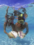 Snorkeling in the Blue Waters of the Bahamas Photographic Print by Greg Johnston