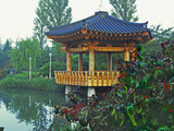 Pagoda Next to Lake and Park, Kyongju, South Korea Photographic Print by Dennis Flaherty