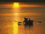 Rowing Boat on Ganges River at Sunset, Varanasi, India Photographic Print by Keren Su