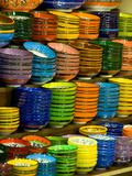Bowls and Plates on Display, for Sale at Vendors Booth, Spice Market, Istanbul, Turkey Photographic Print by Darrell Gulin