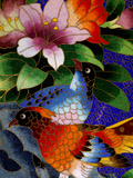 Bird Cloisonne Plate, Hand Made with Tiny Copper Wires and Powered Enamel, China Fotografisk tryk af Cindy Miller Hopkins