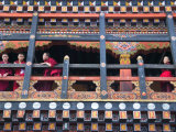 Monks in the Kichu Lhakhang Dzong, Paro, Bhutan Photographic Print by Keren Su
