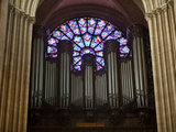 Detail of Notre Dame Cathedral Pipe Organ and Stained Glass Window, Paris, France Photographic Print by Jim Zuckerman