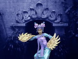 Balinese Dancer in Front of Temple in Ubud, Bali, Indonesia Photographic Print by Jim Zuckerman