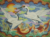 Ceiling Mural of Cranes and Catfish, Nankunshen Temple, Peimen, Taiwan Photographic Print by Steve Satushek