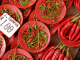 Peppers for Sale in Market, Kuching, Sarawak, Borneo, Malaysia Photographic Print by Jay Sturdevant