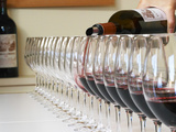 Row of Glasses for Tasting, Chateau Baron Pichon Longueville, Pauillac, Medoc, Bordeaux, France Photographie par Per Karlsson