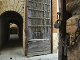 Wooden Fortified Gates and Alley of Medieval Town, Buonconvento, Italy Photographic Print by Dennis Flaherty