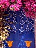 Blue Doors and Bougainvillea, Koskinou Village, Rhodes, Dodecanese Islands, Greece Photographic Print by Steve Outram