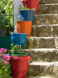 Staircase with Flower Planters, Fiskardo, Kefalonia, Ionian Islands, Greece Photographic Print by Walter Bibikow