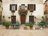 Early Morning Exterior of a Restaurant, Pienza, Italy Photographic Print by Dennis Flaherty