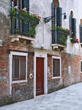 Residential Side Street Decorated with Flowers, Venice, Italy Fotoprint van Dennis Flaherty