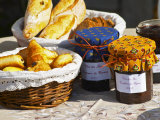 Wicker Basket with Croissants and Breads, Clos Des Iles, Le Brusc, Var, Cote d&#39;Azur, France Photographic Print by Per Karlsson