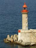 Port Lighthouse Guards Entrance to Harbor, Bastia, Corsica, France Reproduction photographique par Trish Drury