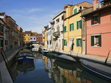 Boats and Colorful Reflections of Homes in Canal, Burano, Italy Photographic Print by Dennis Flaherty
