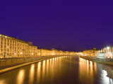Lights Reflect on the Arno River, Pisa, Italy Photographic Print by Dennis Flaherty