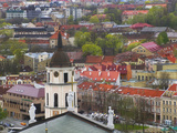 Cityscape Dominated by Cathedral Bell Tower, Vilnius, Lithuania Photographic Print by Keren Su