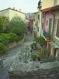 Narrow Cobblestone Street, Fishing Village, Collioure, Languedoc-Roussillon, France Photographic Print by Per Karlsson