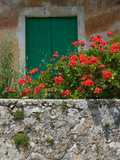 Vacation Villa Wall with Flowers, Matsoukata, Kefalonia, Ionian Islands, Greece Photographic Print by Walter Bibikow