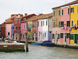 Boats and Colorful Homes in Canal, Burano, Italy Photographic Print by Dennis Flaherty