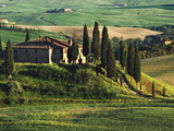 Europe, Italy. A pastoral Tuscany villa in Val d'Orcia Photographic Print by Dennis Flaherty