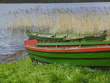 Colorful Canoe by Lake, Trakai, Lithuania Photographic Print by Keren Su
