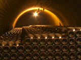 Champagne Bottles in Vaulted Cellar, Champagne Deutz, Ay, Vallee De La Marne, Ardennes, France Photographic Print by Per Karlsson