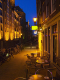 Buildings with Historic Facade and Narrow Lane at Night, Amsterdam, Netherlands Photographic Print by Keren Su