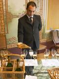 Tasting Room, Waiter Pouring Champagne at Champagne Deutz, Ay, Vallee De La Marne, Ardennes, France Lámina fotográfica por Per Karlsson