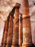 Greek Columns and Greek Carvings of Women, Temple of Zeus, Athens, Greece Photographic Print by Steve Satushek