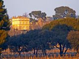 Vineyard and Building of Chateau La Nerthe, Chateauneuf-Du-Pape, Vaucluse, Rhone, Provence, France Photographic Print by Per Karlsson