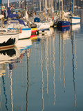 Sailboat Reflections, Southern Harbor, Lesvos, Mithymna, Northeastern Aegean Islands, Greece Fotografie-Druck von Walter Bibikow