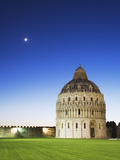 The Baptistery with Evening Moon in the Piazza Dei Miracoli, Pisa, Italy Photographic Print by Dennis Flaherty
