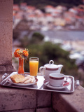 Breakfast Tea and Biscuits on Bedroom Balcony, Hotel Korcula, Korcula Island, Croatia Photographic Print by Steve Outram