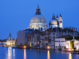 Santa Maria della Salute Cathedral from Academia Bridge along the Grand Canal at Dusk, Venice Photographic Print by Dennis Flaherty