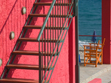 Red Building, Lourdata Beach, Lourdata, Kefalonia, Ionian Islands, Greece Photographic Print by Walter Bibikow