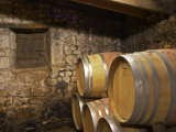 Oak Barrique Barrels with Aging Red Wine, Jute Chateau Belingard, Bergerac, Dordogne, France Photographic Print by Per Karlsson