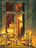 Wrought Iron Railing with Christmas Decorations, Baccarat Museum Shop and Restaurant Photographic Print by Per Karlsson