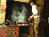 Making Duck Breast on Grill in Auberge Les Vignes, Sauternes, Bordeaux, Gironde, France Photographic Print by Per Karlsson