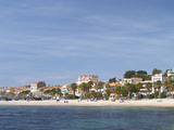 Beach with Palm Trees Along Coast in Bandol, Cote d'Azur, Var, France Photographic Print by Per Karlsson