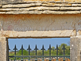 Gate and Key Stone Carved with Montrachet, Domaine Leflaive, Grand Cru Vineyard, Bourgogne, France Photographic Print by Per Karlsson